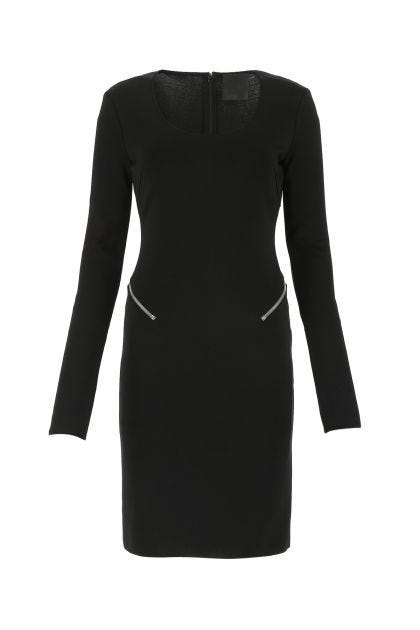 Black stretch viscose blend midi dress