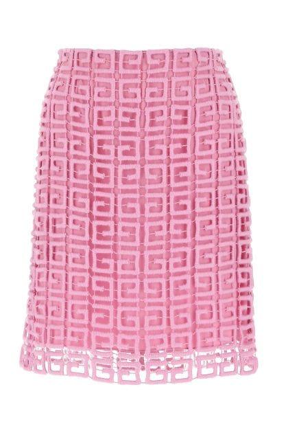 Pink wool blend mini skirt