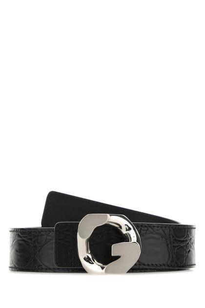 Black leather reversible belt