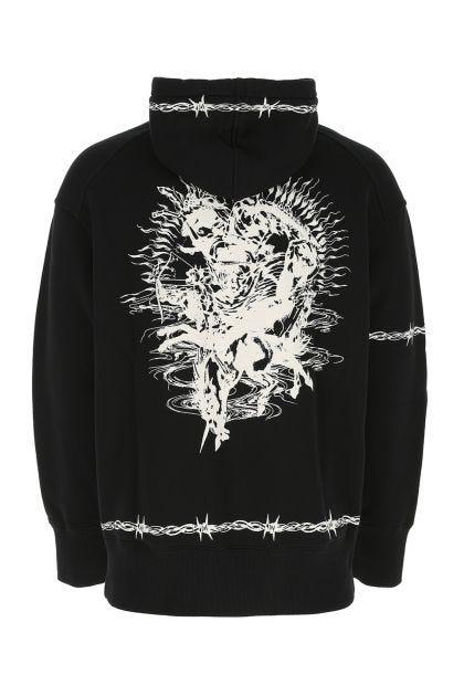 Black cotton Gothic oversize sweatshirt