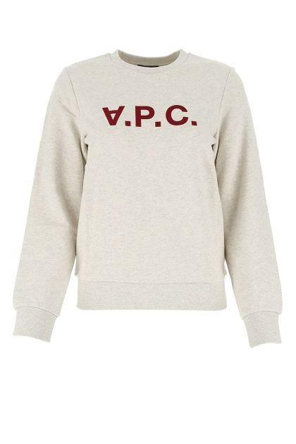 Melange light grey cotton sweatshirt