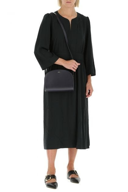 Midnight blue leather Demi Lune mini crossbody bag