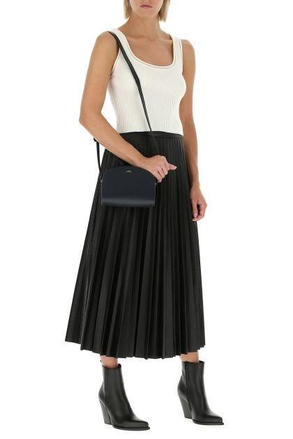 Midnight blue leather mini Demi Lune crossbody bag