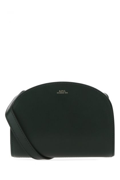 Dark green leather mini Demi Lune crossbody bag