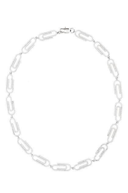Embellished metal Paperclip necklace