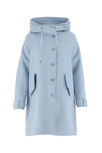 Powder blue wool oversize coat