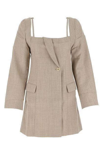 Cappuccino wool La Robe Maniu mini dress