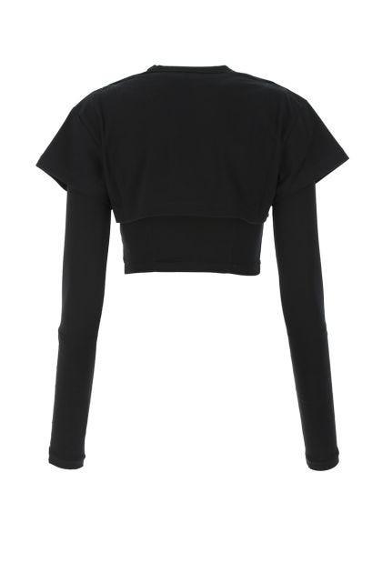 Black stretch lyocell Le Double T-shirt t-shirt