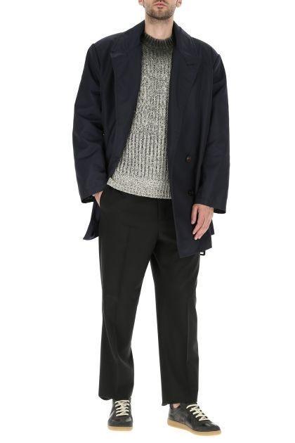 Blue nylon overcoat