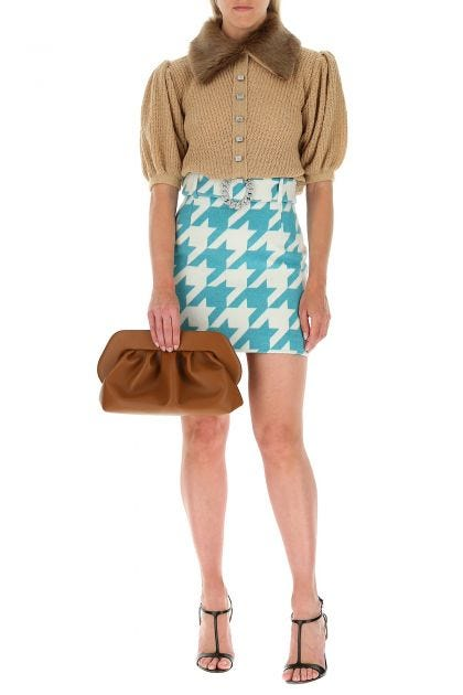 Printed wool blend miniskirt