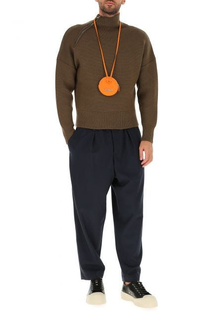 Orange leather Le Pitchou coin purse