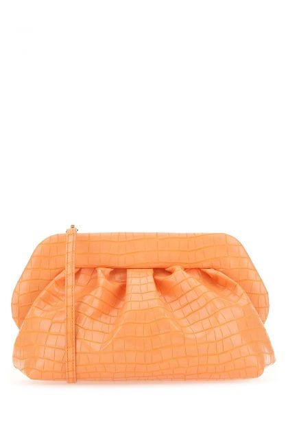 Pastel orange synthetic leather Bios clutch