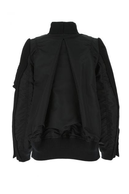 Two-tone nylon and wool jacket