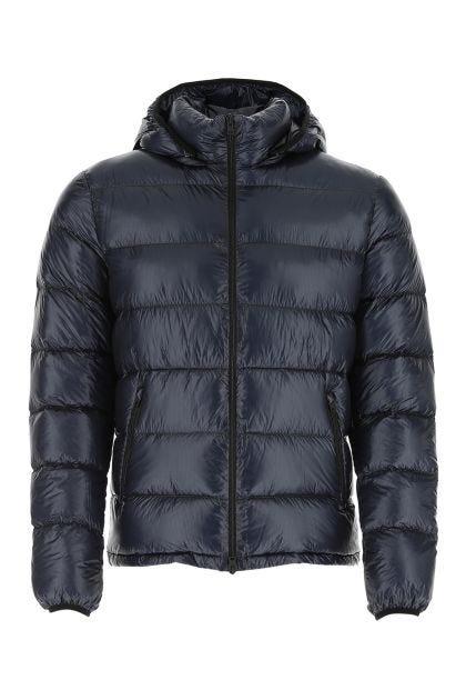 Dark blue nylon down jacket