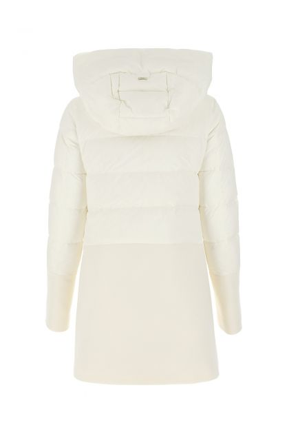 White wool blend and nylon down jacket