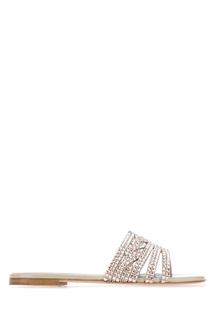 Embellished leather thong slippers