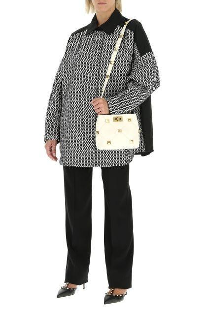 Two-tone cotton blend and gabardine oversize jacket