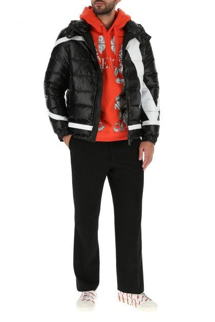 Black nylon V Maxi down jacket