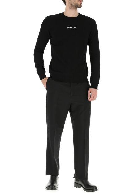 Black wool blend pant