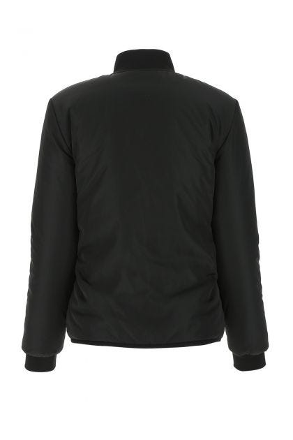 Black stretch polyester reversible padded jacket