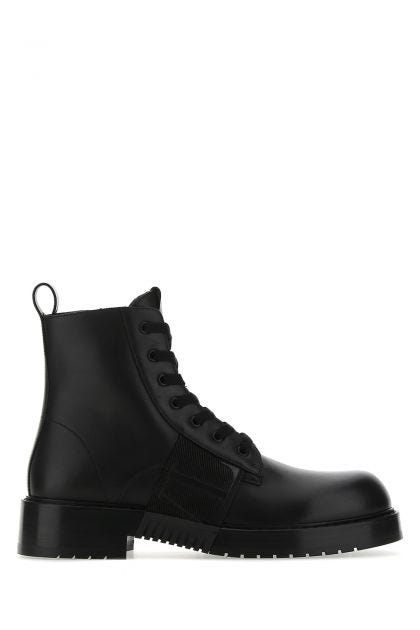 Black leather Combat VL/N ankle boots