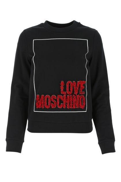 Black cotton stretch sweatshirt