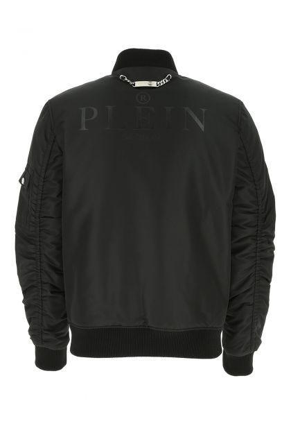 Black polyester bomber jacket