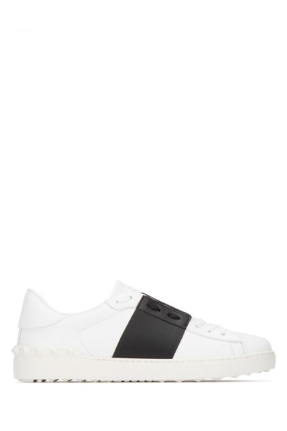 White leather Open with black band sneakers