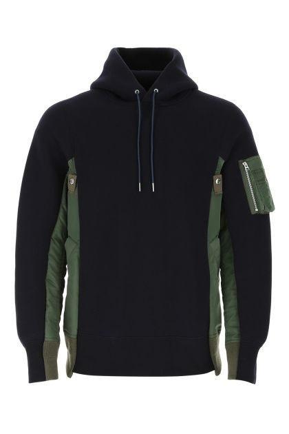 Two-tone cotton blend and nylon sweatshirt