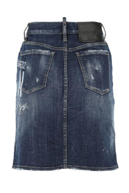 Blue denim stretch skirt