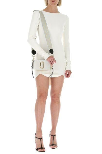 Ivory viscose blend mini dress