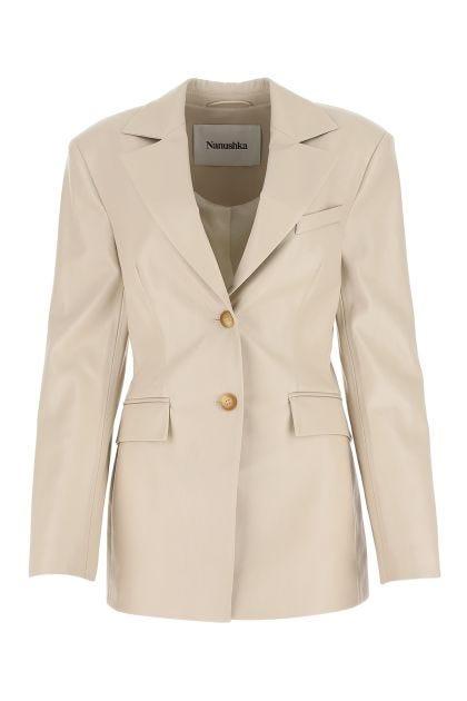 Cream synthetic leather Hathi blazer