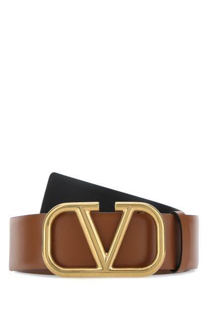 Brown leather Vlogo Signature belt