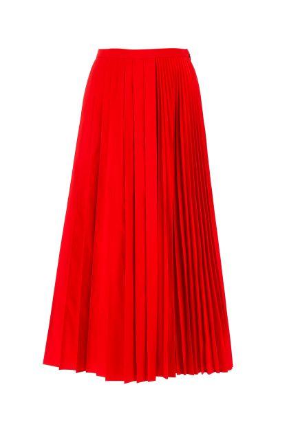 Red cotton blend midi skirt