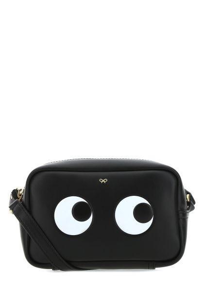 Black leather mini crossbody bag