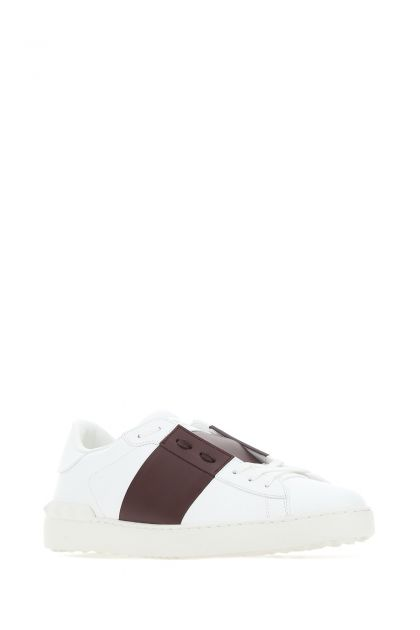 White leather Open sneakers with grape band