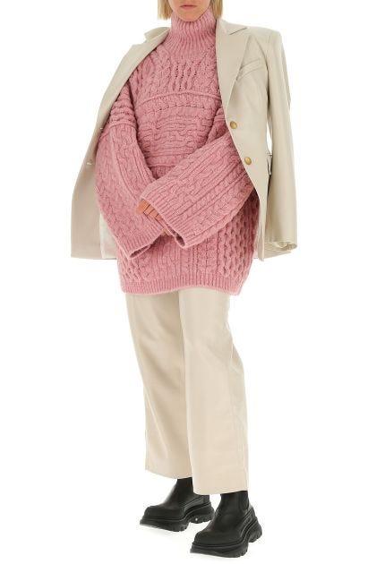 Pink acrylic blend oversize sweater
