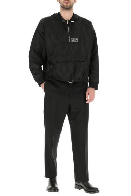 Black cotton blend oversize sweatshirt
