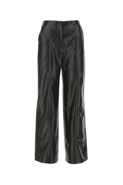 Black synthetic leather wide-leg Namas pant