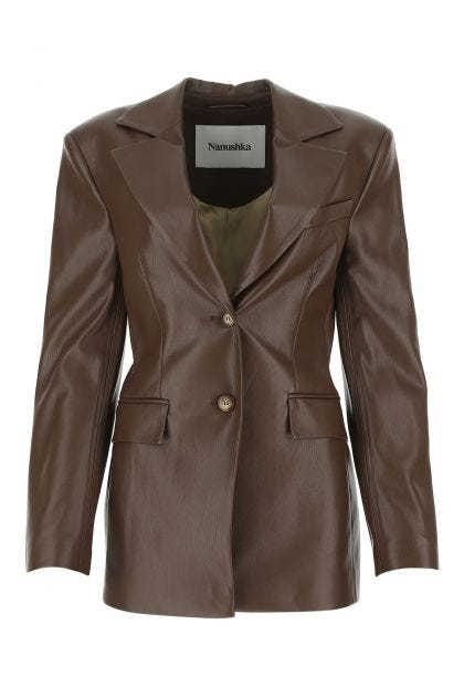 Brown synthetic leather Hathi blazer