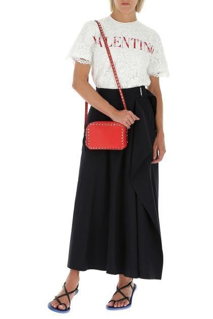 Red leather Rockstud crossbody bag