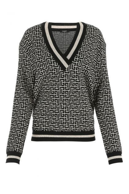 Embroidered wool blend oversize sweater