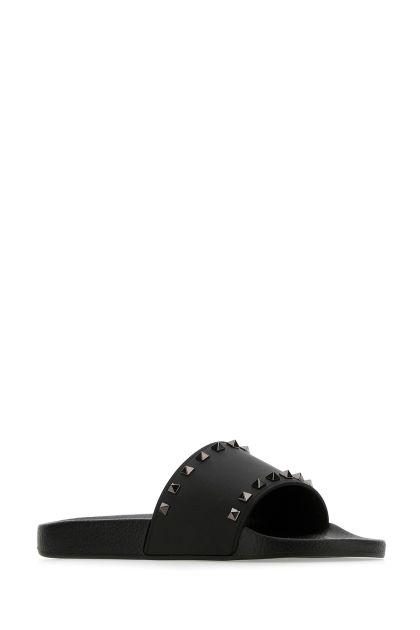 Black rubber Rockstud slippers