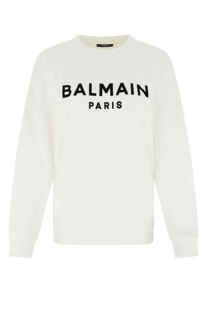 White stretch cotton sweatshirt