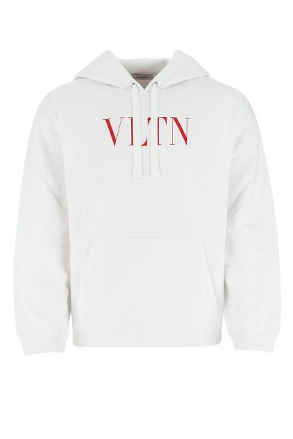 White cotton blend VLTN sweatshirt