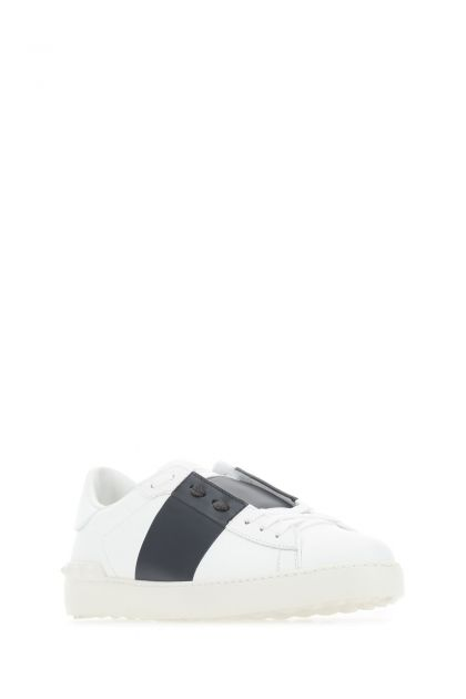 White leather Open with midnight blue band sneakers