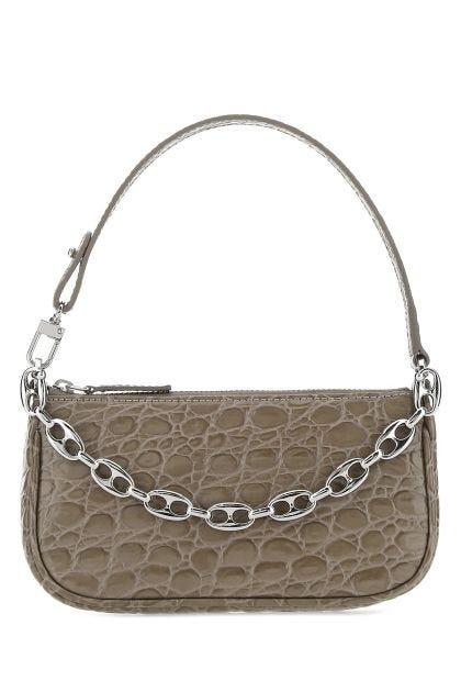 Dove grey leather mini Rachel handbag
