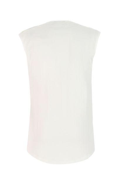 White cotton oversize tank top