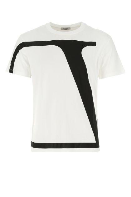 White cotton V-logo Signature t-shirt