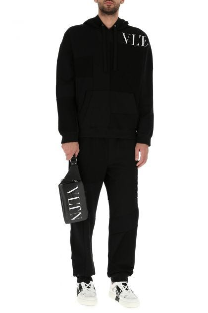 Black leather VLTN belt bag